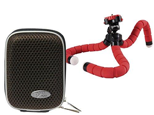 Foto Kamera Tasche Box Memo braun Set mit Reise Stativ Rollei Monkey red