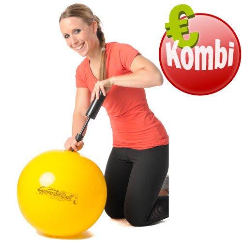 Pezziball 42 cm gelb + Pumpe Therapie Reha Büro Pezzi Gymnastik Ball Sitzball