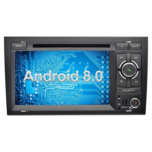 Ohok 7 Zoll Bildschirm 2 Din Autoradio Android 8.0.0 Oreo Octa Core 4G+32G Radio mit Navi Moniceiver DVD GPS Navigation Unterstützt Bluetooth WLAN DAB+ OBD2 für Audi A4 2002-2008