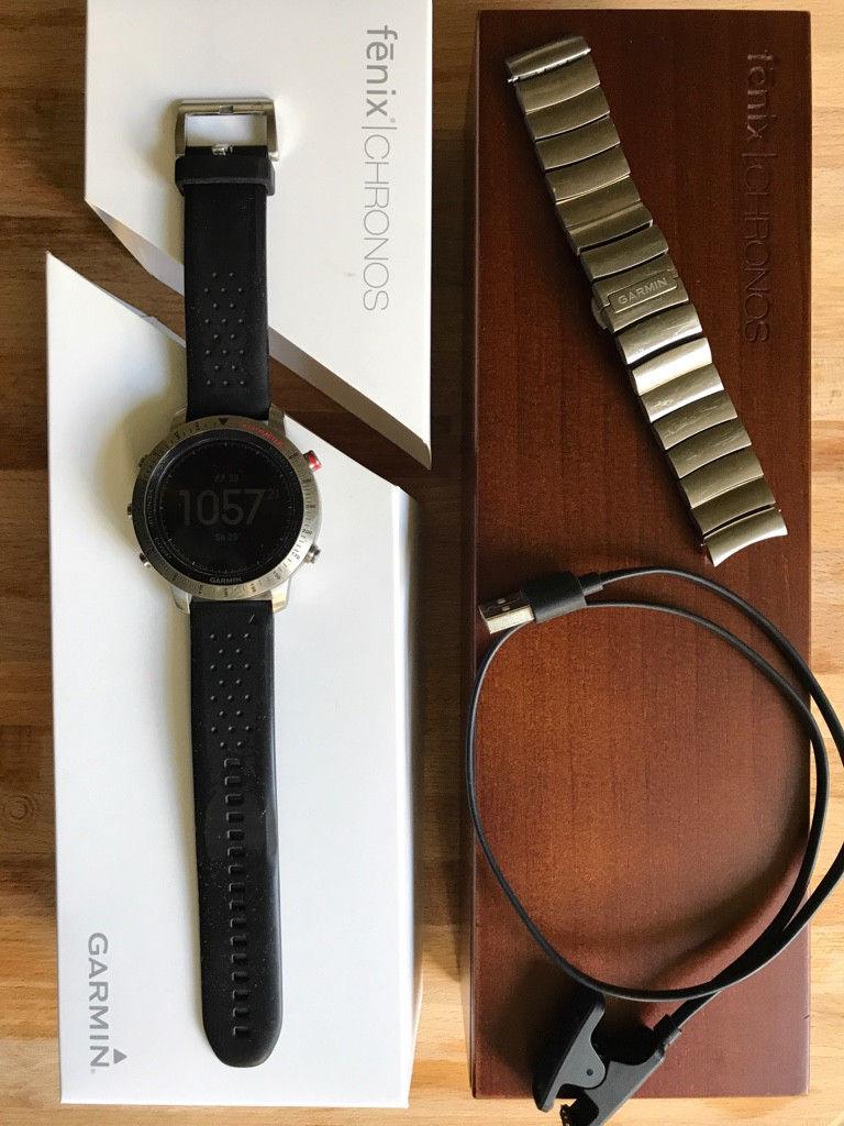 Garmin Fenix Chronos Pulsuhr Fitnesstracker GPS Saphierglas Titan Smart-Watch