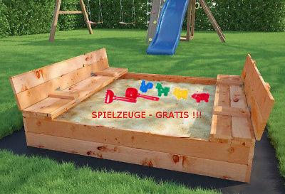 Sandkasten Sandkiste Sandbox mit Deckel SITZBÄNKEN 120x115cm Imprägniert GRATIS