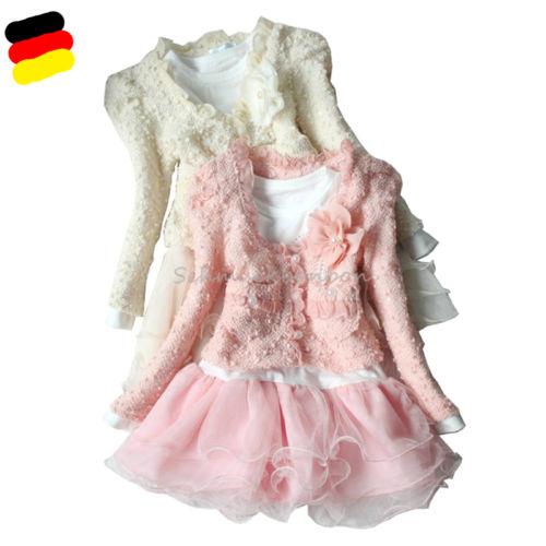Mädchen Kinder 2tlg Set Jacke + Langarm Tutu Kleid Hochzeit Party Gr. 92-116