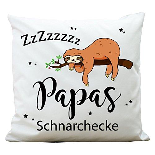 """Wandtattoo-Loft Bedrucktes Kissen """"Papas Schnarchecke"""" mit niedlichem Faultier am Ast/WEIß/Vatertag/Aus 100% Polyester 40 x 40 cm/Mit Füllung und hochwertigem Aufdruck/Waschbar"""