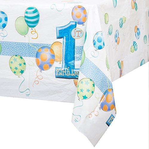 Kunststoff blau Luftballons 1. Geburtstag Tischdecke, 7ft x 4.5ft