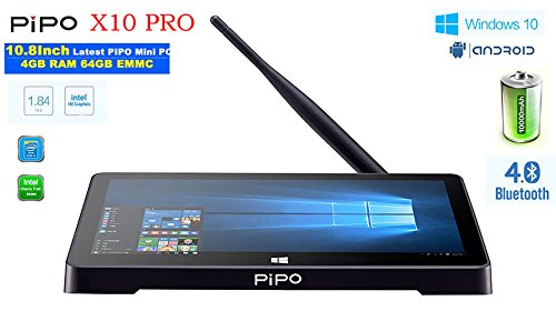 PiPo x10pro Touch Screen Tablet PC, 10.8, Auflösung 1920 * 1280 IPS Windows 10 & Android 5.1 Dual OS, Intel cherrytrail z8350 4 g/64G, WiFi 802.11 b/g/n HDMI 10000 mAh, Mini Computer