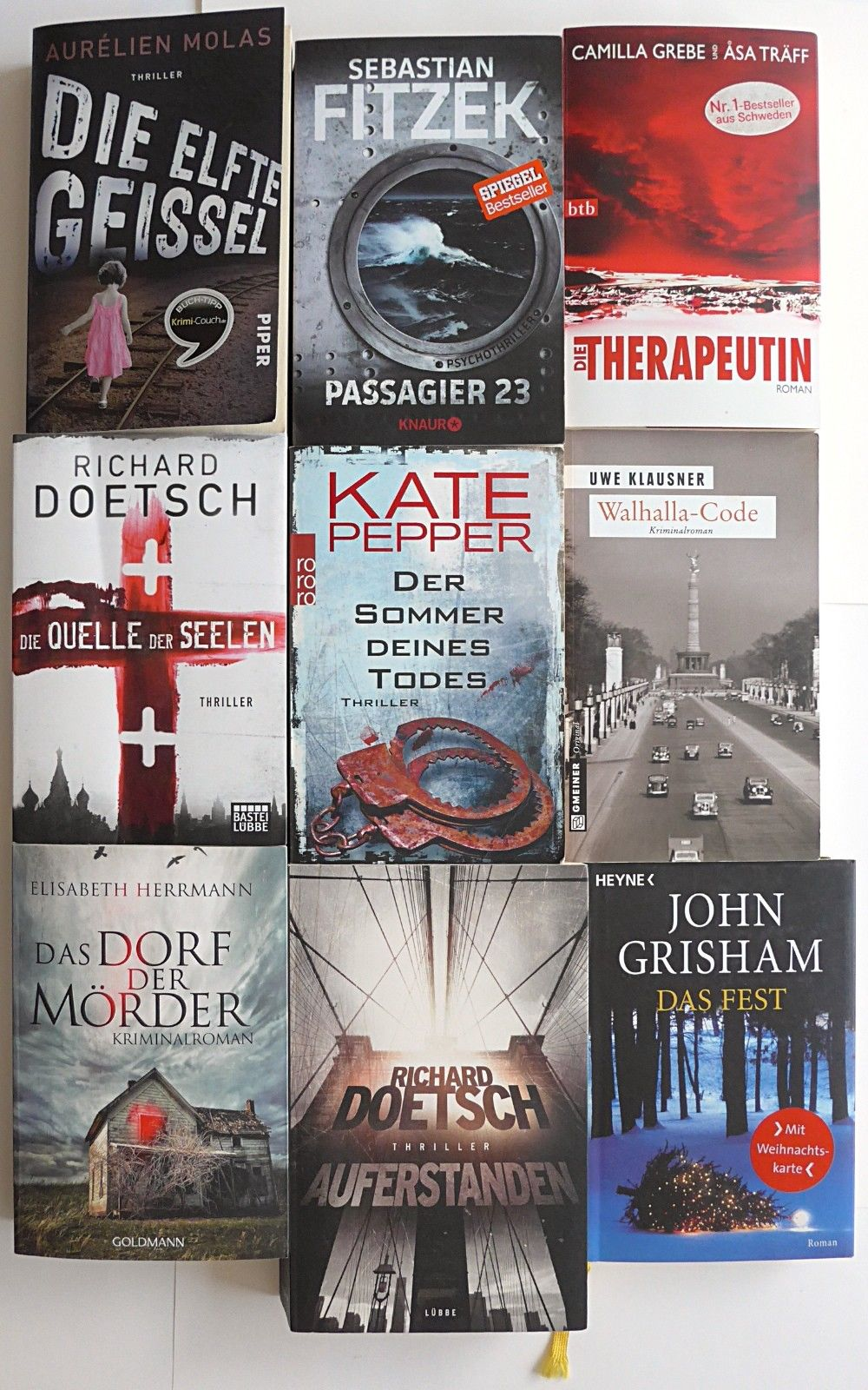 Thriller/Krimi Buchpaket, 13 Stück, S. Fitzek, R. Doetsch, T. Thiemeyer...