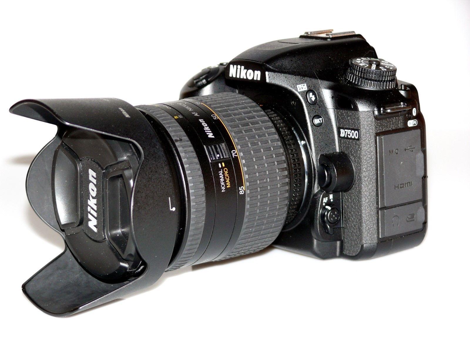 Nikon D7500 (DX-Format) mit Nikkor Micro AF 24-85mm 1:2,8-4 D