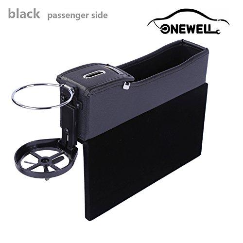 Multifunktionale Autositz Leder Aufbewahrungs box, Onewell Console Seitentasche, Gap Catcher mit Münz-Organizer und Getränkehalter(Schwarz, Beifahrerseite)