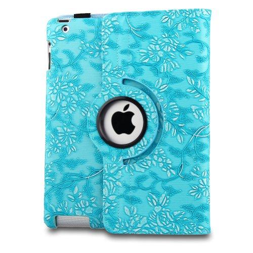 Generic Blau New iPad 2 IPAD 3 Case, Geprägte Blumen Plaid PU Leder Tasche Hülle mit Aufsteller für Apple iPad 2 unterstützt Sleep mode, Smart Cover Funktion