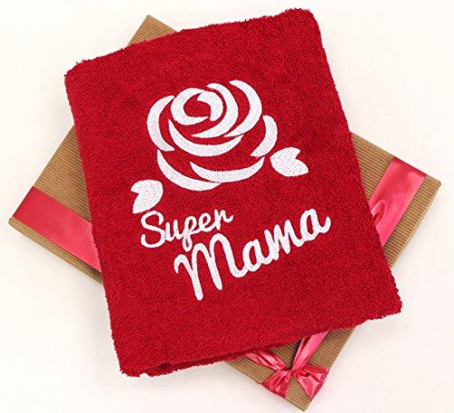Geschenk zum Geburtstag für Mama oder Muttertag - Handtuch mit gestickter Rose und Super Mama - eine praktische Geschenkidee für Mutter - ein dauerhaft nützliches Geschenk