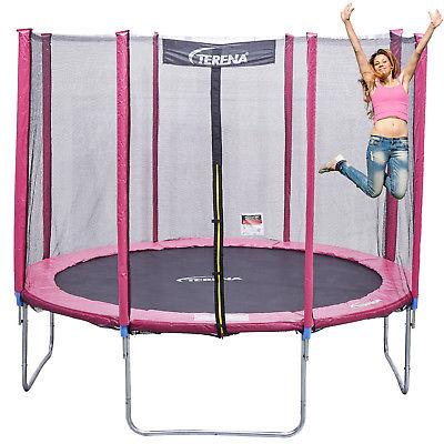Trampolin 305 cm mit Netz Sicherheitsnetz Gartentrampolin für Kinder 10f pink