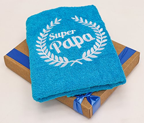 Handtuch zum Geburtstag für Vater oder Vatertag, mit gesticktem Kranz und Super Papa, ein cooles Geburtstagsgeschenk von Abc-Casa