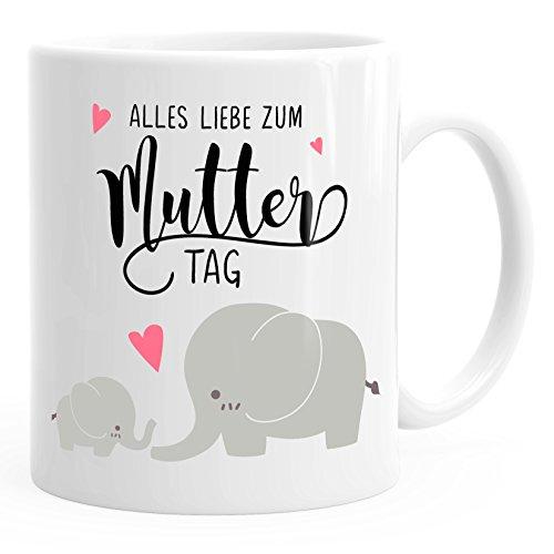 Kaffee-Tasse Alles Liebe zum Muttertag Elefant Elefanten Muttertagsgeschenk MoonWorks® weiß unisize