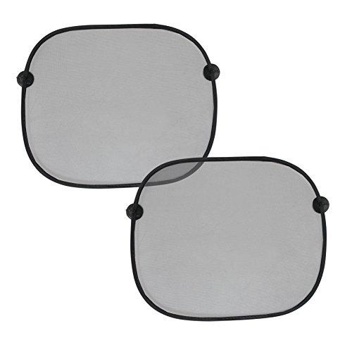 Just1Click Sonnenschutz-Set UV Blocker/Doppelpack - faltbar - 44x36cm - für Auto Seitenfenster UV Schutz Sonnenschutz für Kinder mit Aufbewahrungsbeutel (schwarz, ohne Aufrduck) - 2er Set