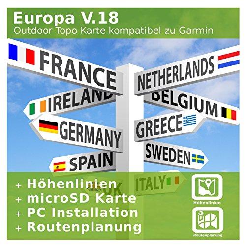 Europa V.18 - Profi Outdoor Topo Karte - Kompatibel zu Garmin Oregon 600, Oregon 600t, Oregon 650, Oregon 650t, Oregon 700, Oregon 750, Oregon 750t