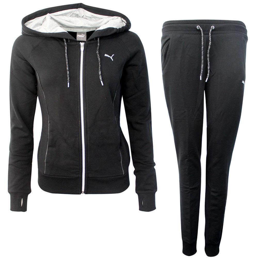 Puma Lurex Womens Full Sweat Suit Hoodie Tracksuit Bottoms Black 837155 01 M7