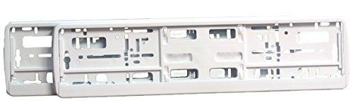 autooptimierer.de Kennzeichenhalter I Nummernschildhalter für PKW I Kennzeichenhalterung I (2 Stück) (Weiß)