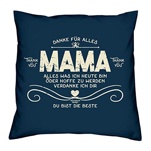 Kissen inkl. Füllung und Urkunde : Danke Mama :: Persönliches und bleibendes Geschenk zum Muttertag : Geschenkidee Muttertagsgeschenk 40x40 Farbe: navy-blau