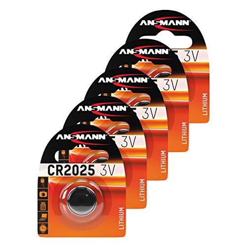 ANSMANN 5x CR2025 Batterie Lithium Knopfzelle 3V/Qualitativ hochwertige Knopfbatterien/Ideal für Autoschlüssel, TAN-Gerät, Taschenrechner, Kinderspielzeug, Fernbedienung, Uhren, etc.