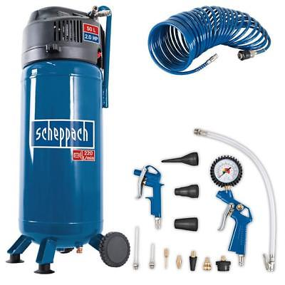 Scheppach 50 Liter Kompressor HC51V, Plus 13tlg. Druckluft-Set + Spiralschlauch