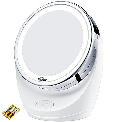 Kosmetikspiegel LED, Vergrößerungsspiegel mit 5x/1x fach Kealive Schminkspiegel und 360°Schwenkbar Tischspiegel für Wohnzimmer, Kosmetikstudio, Spa und Hotel