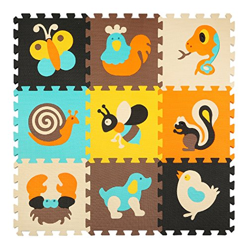 Puzzlematte Baby Puzzlematten für Kinder Spielmatte Puzzle Spielteppich Schaumstoff 9 PCS(87x87x1cm) meiqicool 010