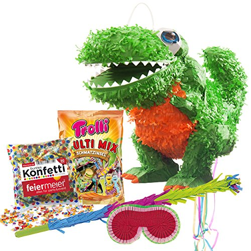 PINATA-SET: Pinata Süßer T-Rex Dino + Schläger + Maske + Trolli Süßigkeiten-Füllung + Konfetti - PARTYMARTY GMBH®