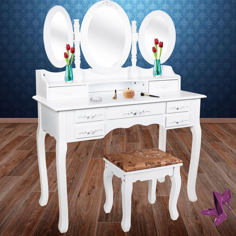 Kesser® XXL Schminktisch Kosmetiktisch Frisierkommode Tisch Kommode + Hocker GR