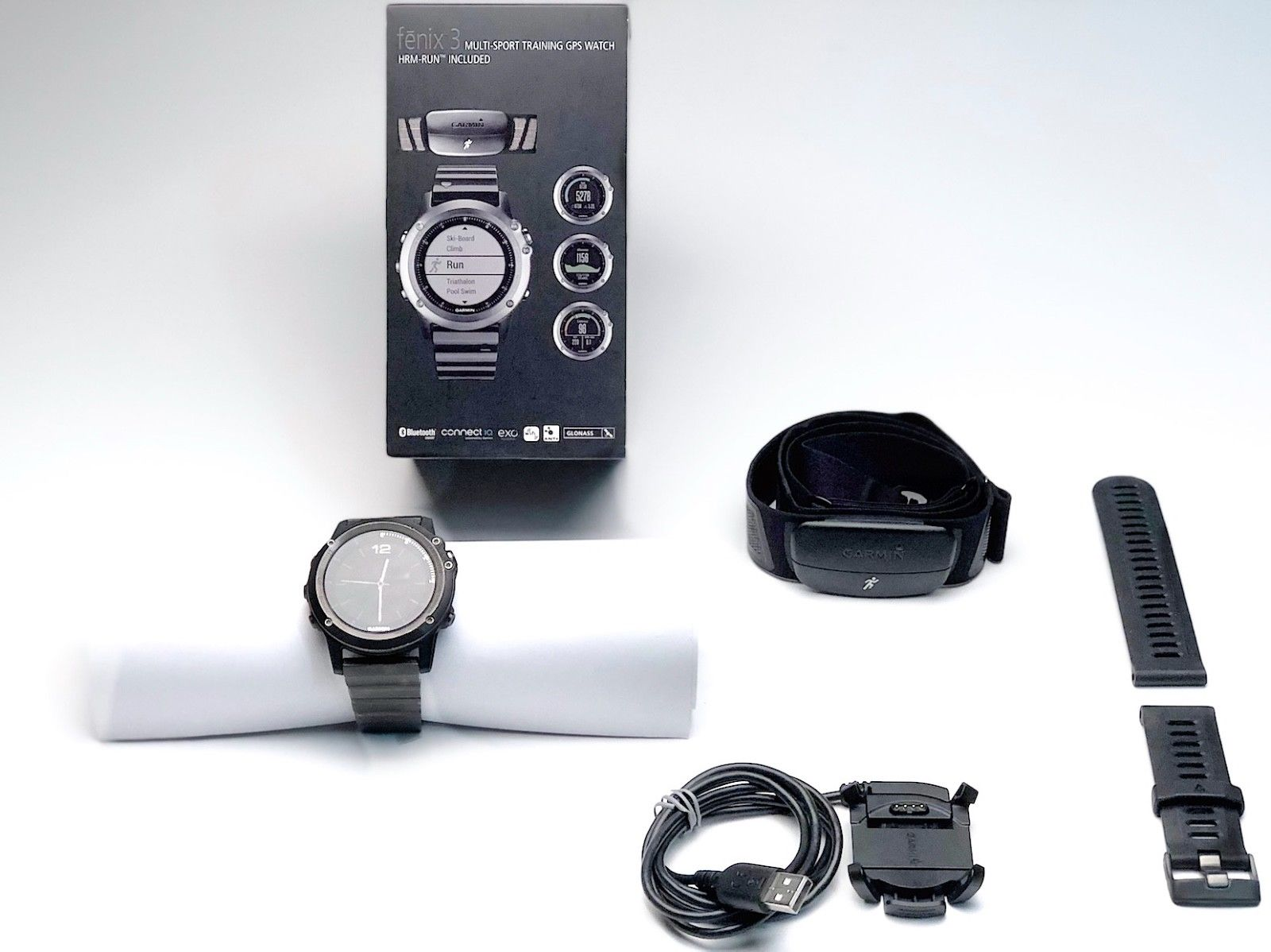 GARMIN fenix 3 HR, GPS Multisport, Schwarz, Sapphire Edition