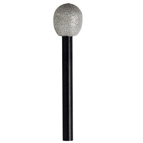 Smiffys Unisex Glitzer Mikrofon, One Size, Silber, 22447