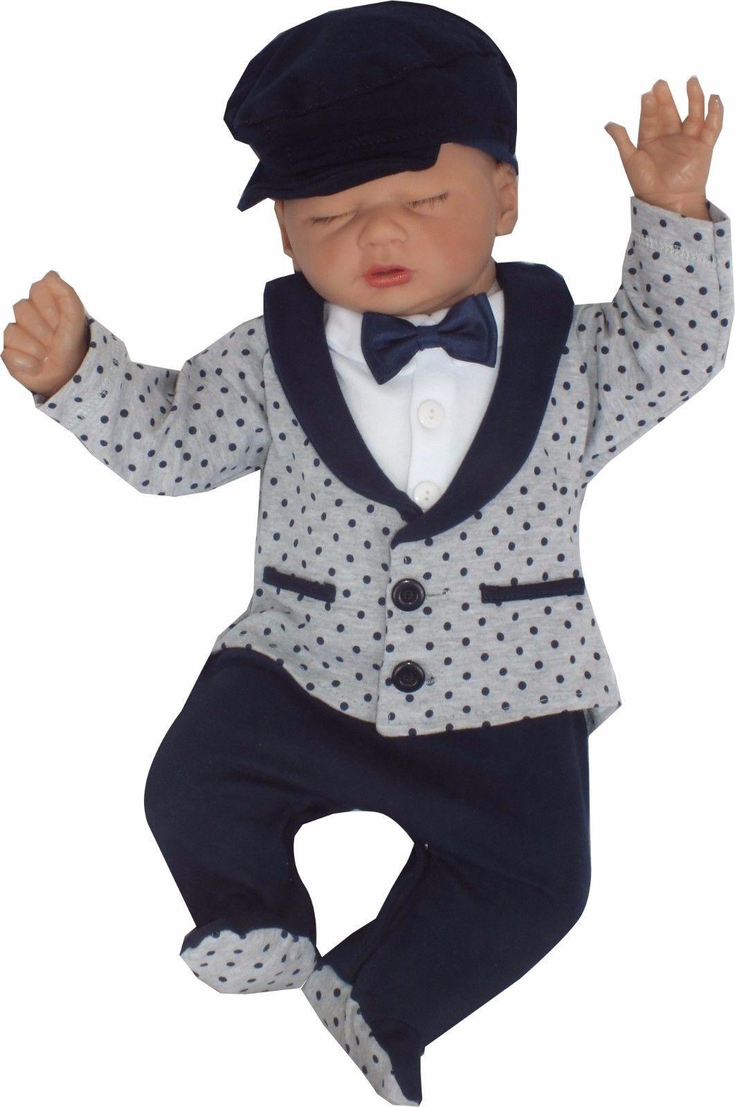 Baby Baumwolle Jungen Einteiler Strampler gr 56 62 68 74 Taufe Festlich Anzug