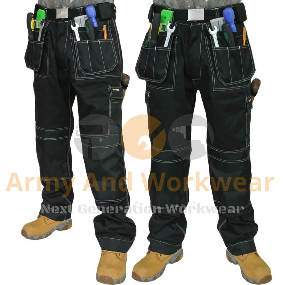 Mens Work Trouser Multi & Knee Pad Pockets Tough Trade Pro Pants Tripe Stitched