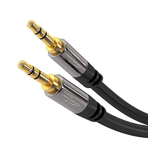 KabelDirekt Aux Kabel (1 m kurz, Audio Stereo Klinkenkabel, 3,5 mm Kabel, Klinkenstecker, Pro Series, geeignet für iPhone, iPad, Smartphone, MP3, Tablet PCs, FM Transmitter, Auto)