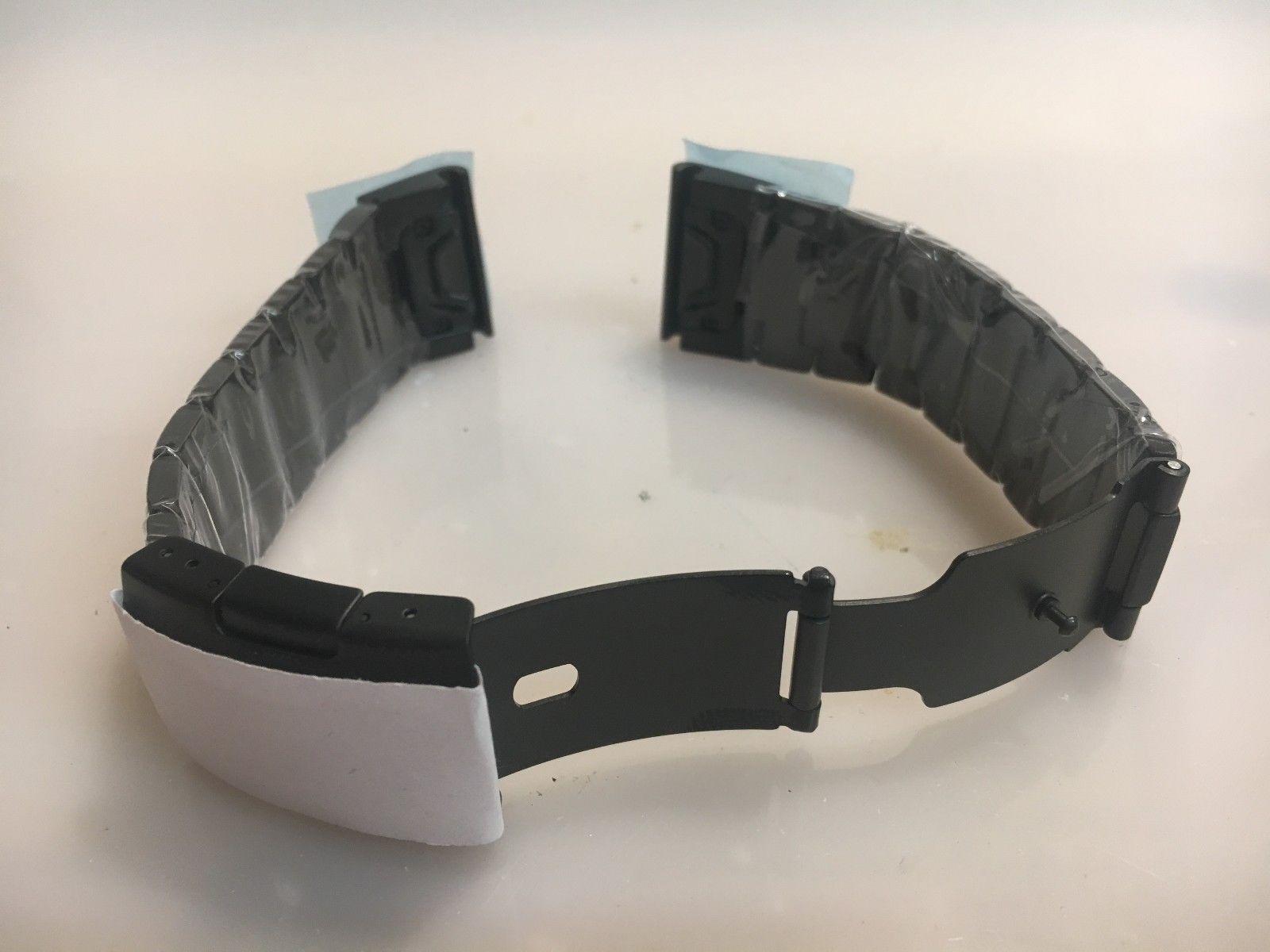 Armband Stahl schwarz für Garmin Fenix 5X mit Faltschließe
