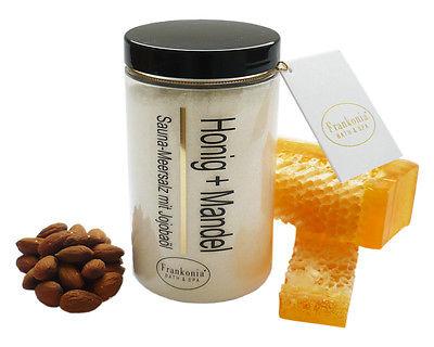 (€ 34,63/kg) Saunasalz  Honig - Mandel 400 g - Körperpeeling Salz - Saunapeeling