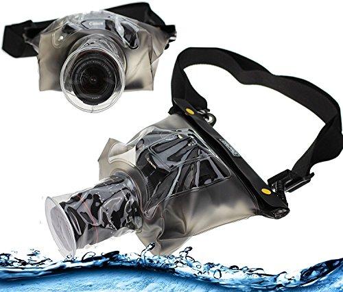 Navitech schwarze wasserdichte Unterwassergehäuse Kasten / Beutel-trockener Beutel für das Nikon D5600 Kit AF-P DX 18-55 VR SLR camera