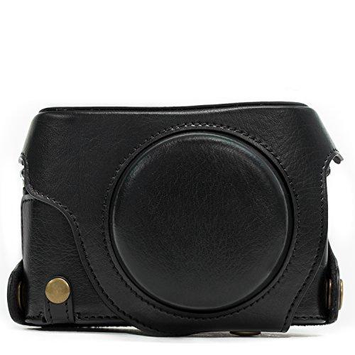MegaGear Panasonic Lumix DMC-LX100 Ever Ready Leder Kamera-Case mit Trageriemen und Batteriezugang schwarz MG661