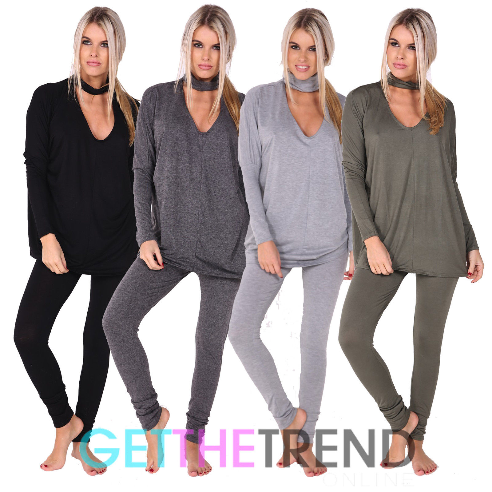 Womens Choker Neck Ladies Loungewear Tracksuit Leggings NightWear Casual Dress
