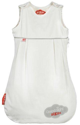 Zizzz 13Z035 Ganzjahres Schlafsack, Swisswool Füllung, atmungsaktiv und natürlich, 0 - 6 Monate, Goodnight Zizzz, 70 cm, grau/rot