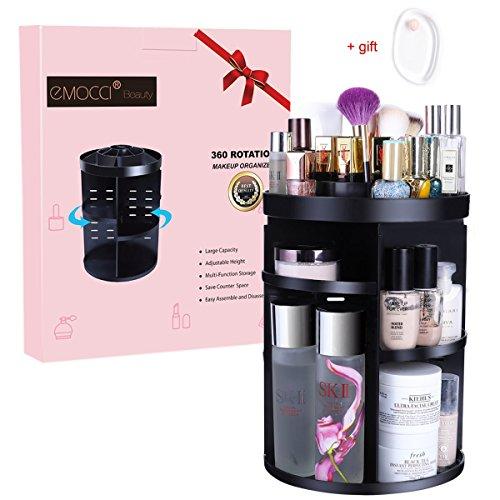 Drehbarer Make up Organizer 360 Grad Rotierend Kosmetik Aufbewahrung Multifunktionaler Schminke Aufbewahrungsbox Einstellbarer Ebenen für Ihre Gesichtswasser Cremes Kosmetikpinsel und Lippenstifte (Schwarz)
