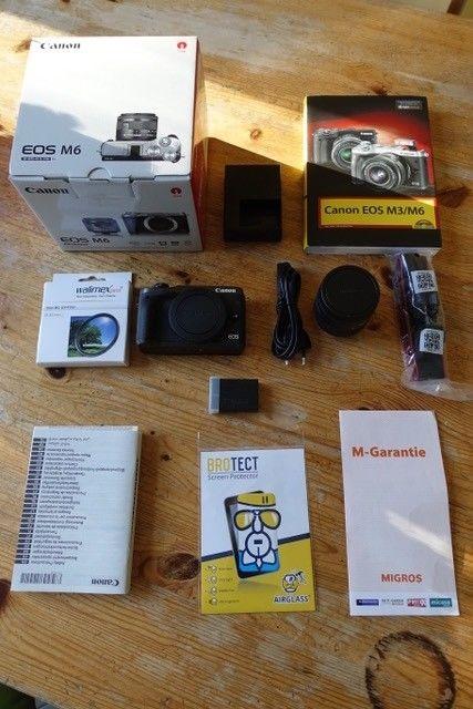 Canon EOS M6 scwarz Kit inkl. EF-M 15-45mm schwarz fast neu! Garantie + Extras!