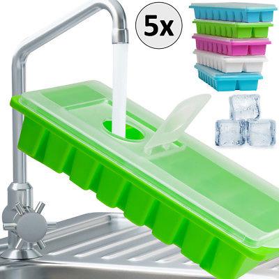 5er Set Eiswürfelform mit Deckel Eiswürfelbehälter Eiswürfelbereiter Eiswürfel