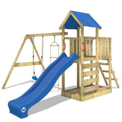 WICKEY FastFlyer Spielturm Sandkasten Rutsche Schaukel Kletterturm Kinder Holz