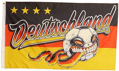 Fahne bissiger Fußball Deutschland Fan Flagge WM EM 1,5 x 0,9m mit Oesen # 186