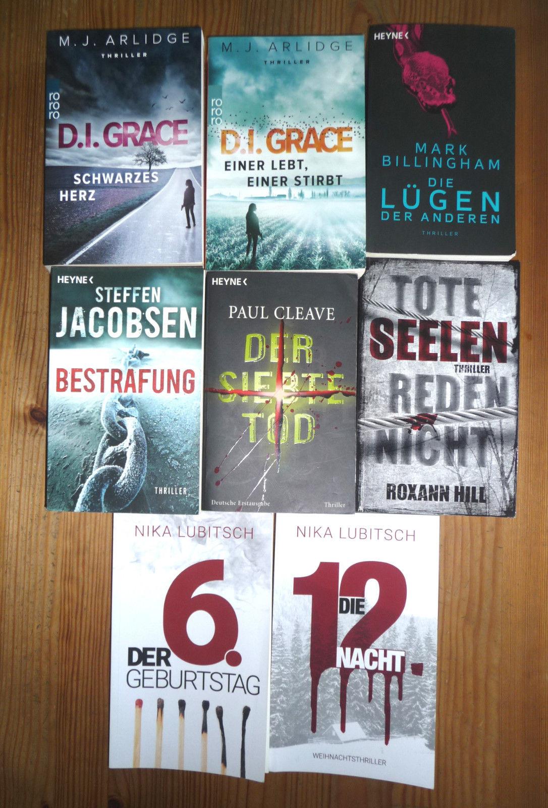 8 x Thriller Buchpaket - Taschenbücher einmal gelesen