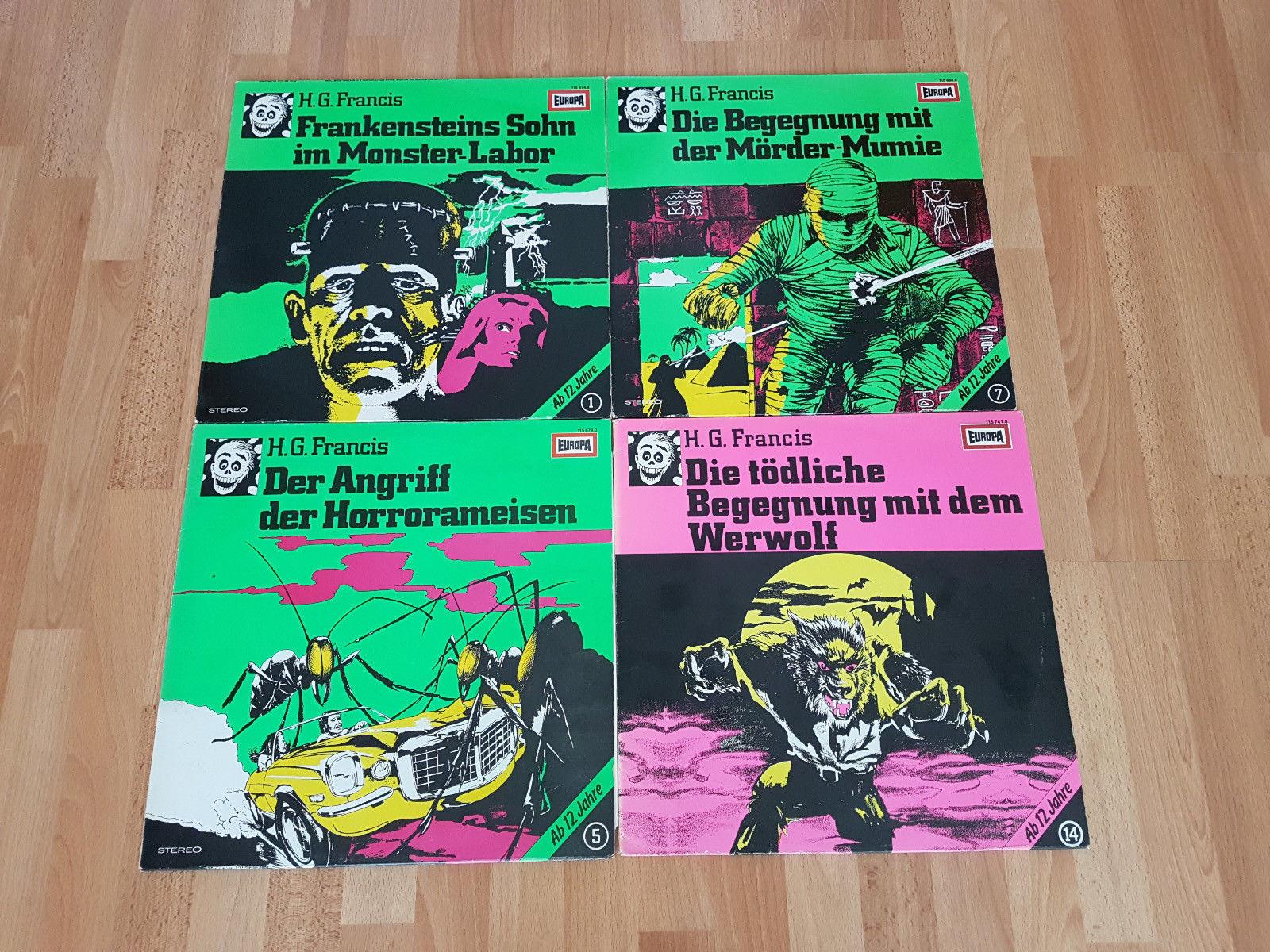 H.G. Francis Hörspiele 4x Vinyl/LP/Schallplatten Europa - Folgen 1, 5, 7 und 14