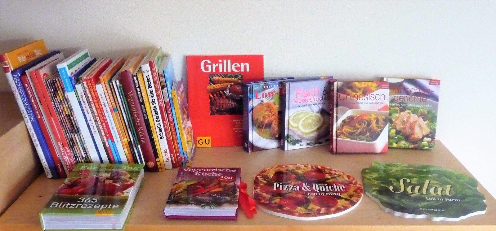 Bücherpaket 44 x Kochen Backen Grillen Vegetarisch Salate Fisch Aufläufe…