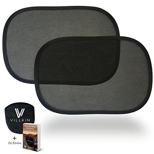 2x Auto Sonnenschutz für Kinder und Babys universell passend – BONUS: Tasche und E-Book – Sonnenblende Schwarz von Villkin (Universell, Schwarz)