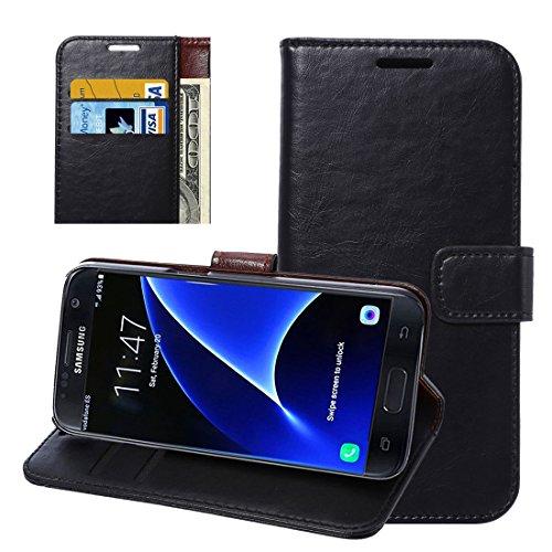 subtel Smart Case für Samsung Galaxy S7 (SM-G930F) Schutzhülle Tasche Flip Cover Case Etui schwarz