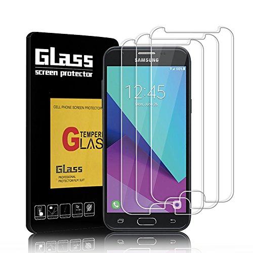 Samsung Galaxy J3 2017 Panzerglas, [3 Stück] FIGEMN Samsung J3 2017 Schutzfolie 5.0 Zoll Härtegrad 9H, 5-Mal Verbesserte Gehärtetes Glas, [Blasenfreie Installation], Anti-Fingerabdruck